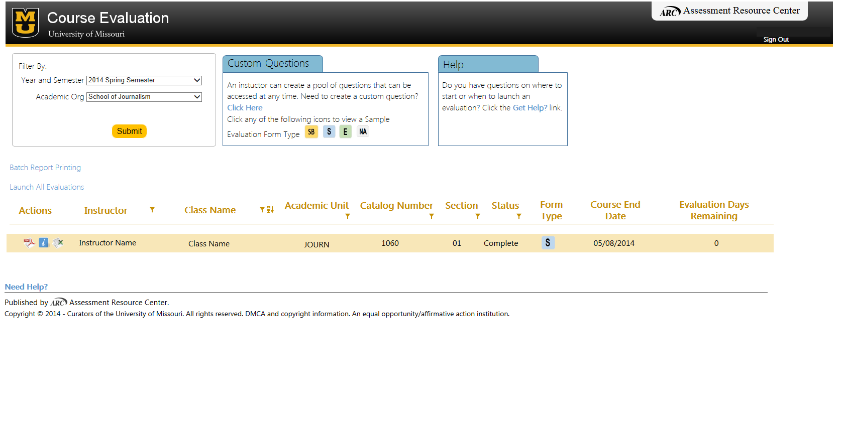 Instructor/Administrator Course Evaluation Main Menu Displaying The Report  Icons.